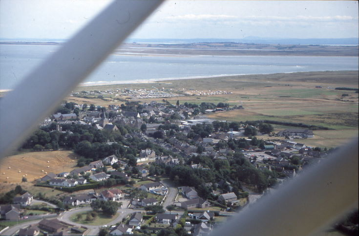 Aerial photograph over Dornoch towards Dornoch Firth