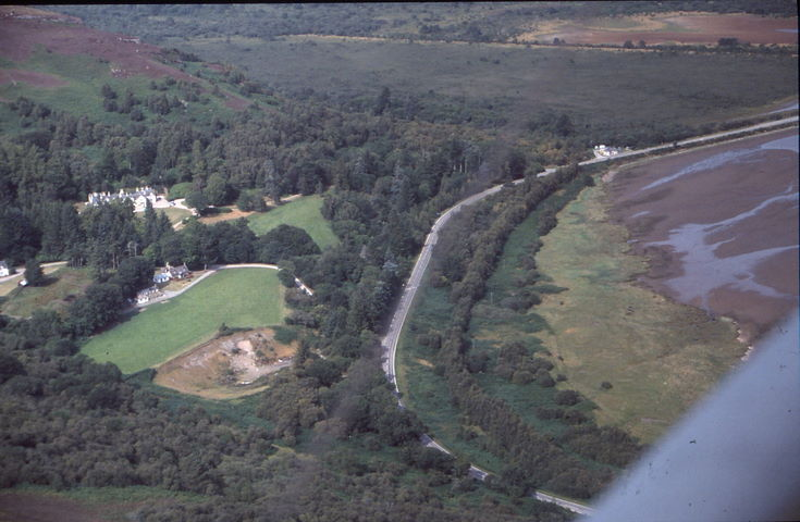 Aerial photograph of Cambusmore Lodge and The Mound