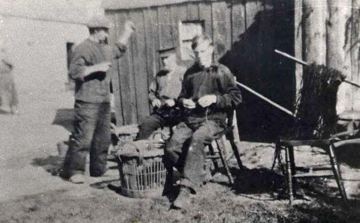 Fishermen baiting lines