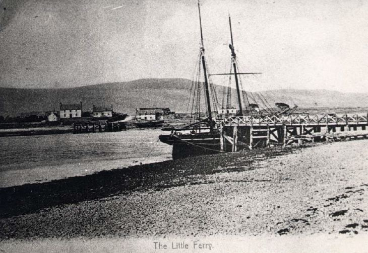 Two masted ship at Littleferry quay c 1904