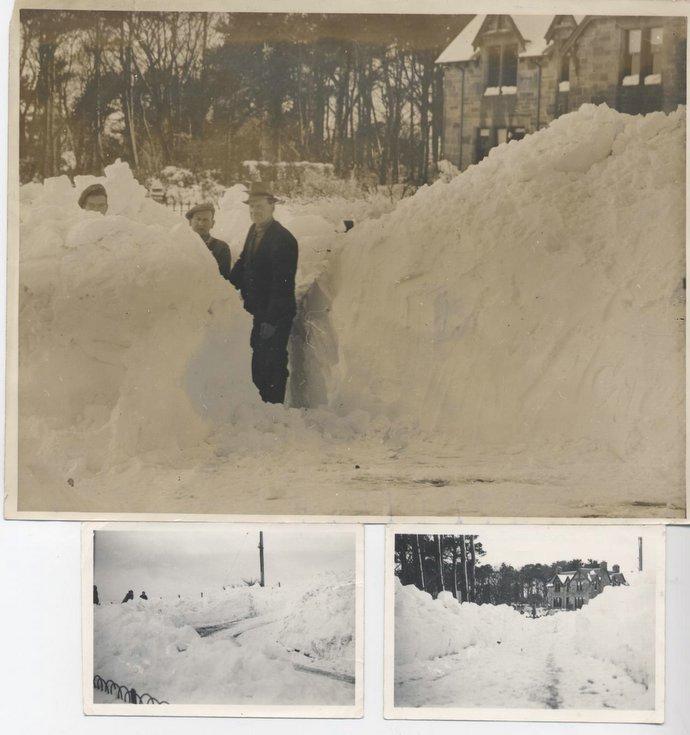 Deep snow at Dornoch War Memorial 1955