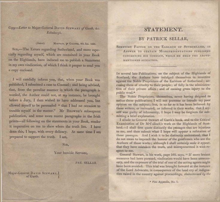 Statement by Patrick Sellar January 1826