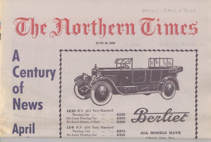 Northern Times June 30th, 2000 'A Century of News'