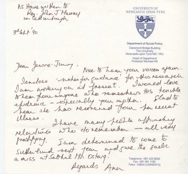 Letter re flu epidemic of 1918-19