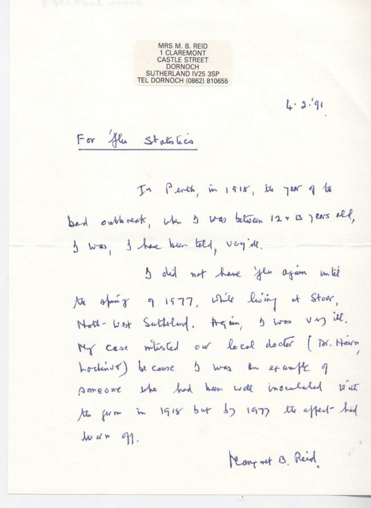 Letter about 'flu epidemic 1918 - 1919
