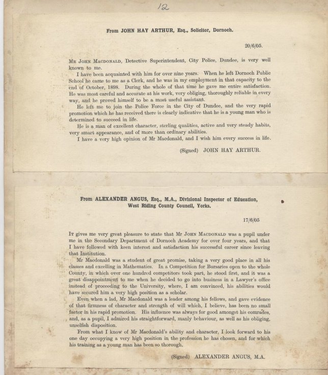 Testimonials for John Macdonald 1905