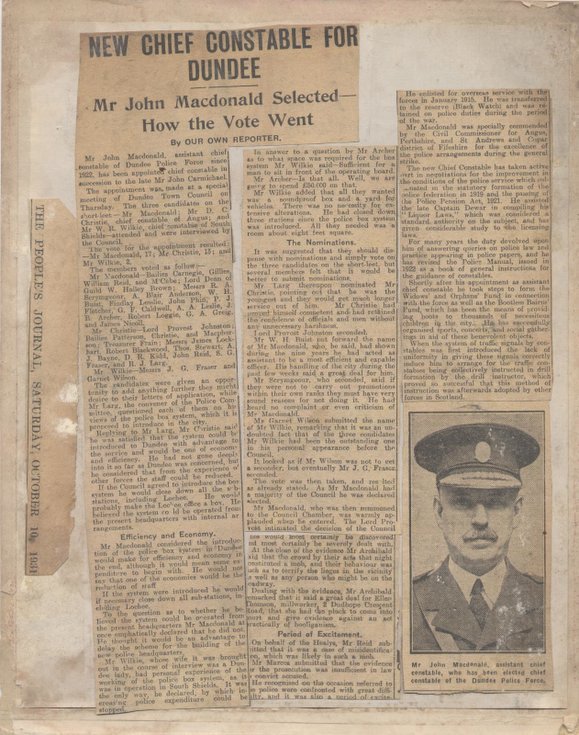 Appointment of Chief Constable John Macdonald 1931