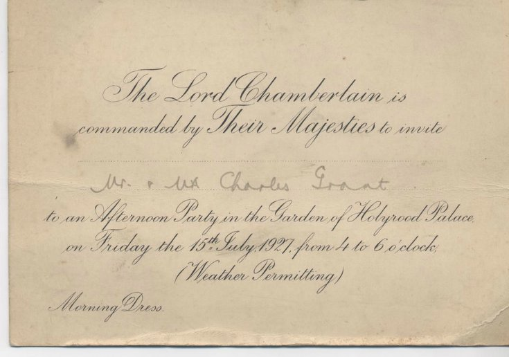 Invitation to Holyrood Garden Party July 1927