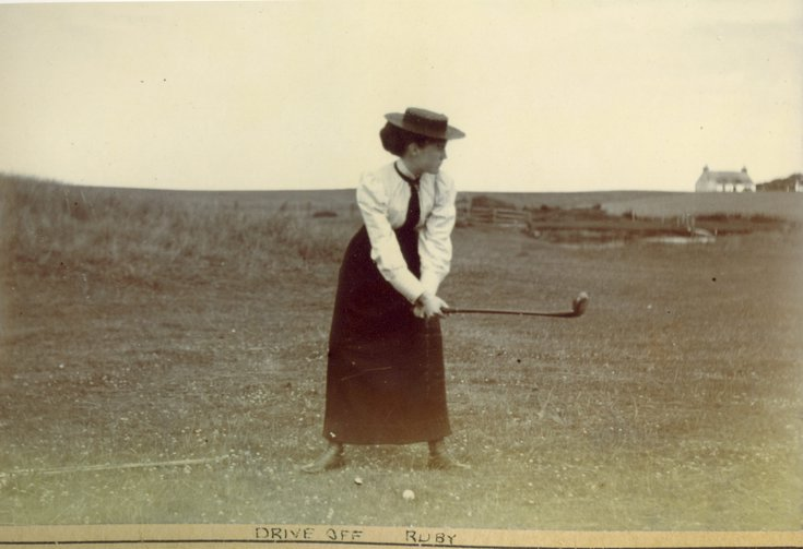 Ruby Grierson preparing her golf drive 1896