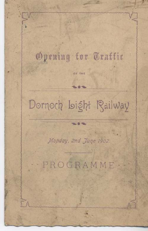 Programme for opening of the Dornoch Light Railway