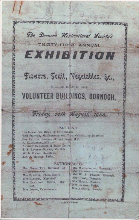 Poster Dornoch Horticultural Society exhibition 1908