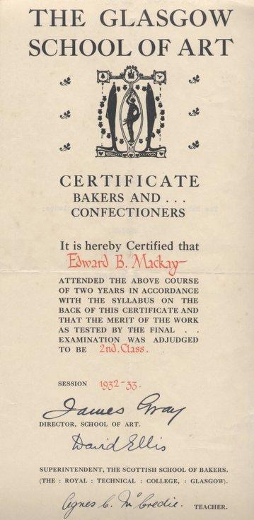 Glasgow School of Art Certificate Edward Mackay