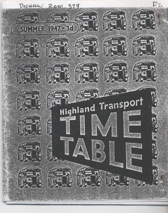 Highland Transport bus timetable, Inverness to Thurso 1947