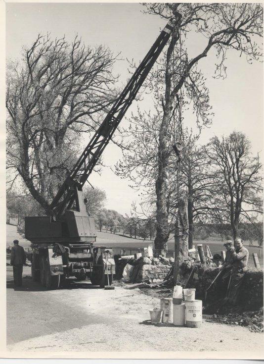 Crane at work re-siting Clach a' Charra 1968