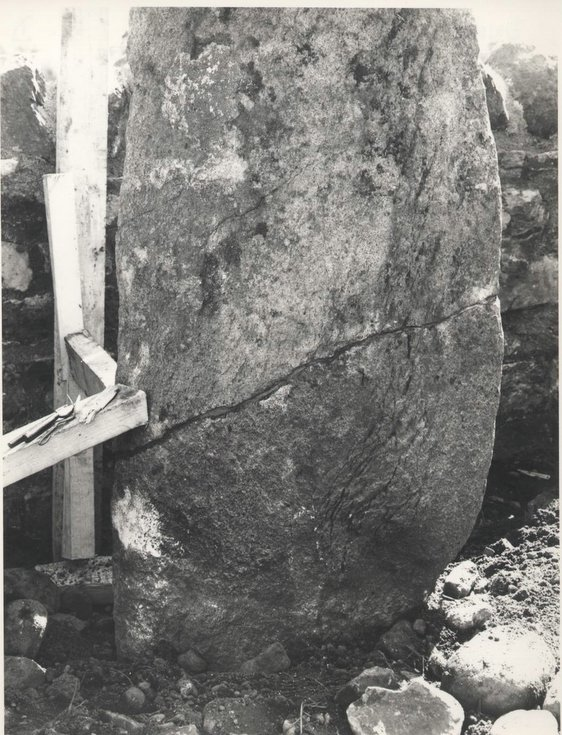 Base of the re-sited  Clach a'Charra in 1968.