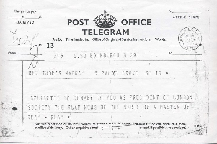 Telegram birth of a Master of Reay-Reay 1937