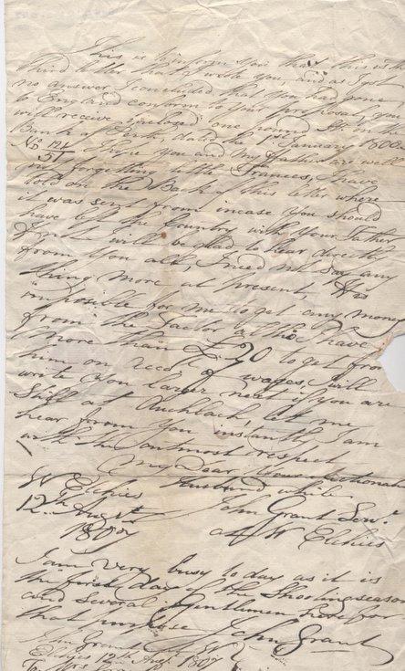 Letter from John Grant to Mrs Grant 1807