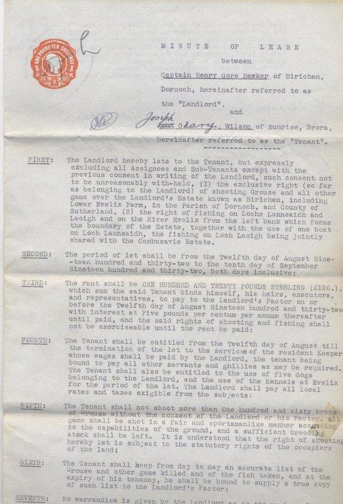 Lease Birichen shootings and fishing 1932