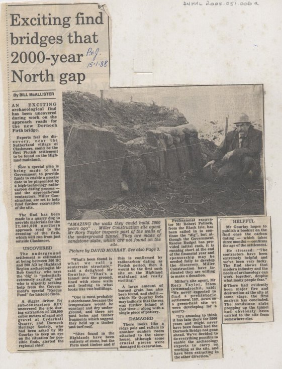 Newspaper report about the Cyderhall souterrain