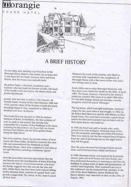 Biref history of the Morangie House Hotel