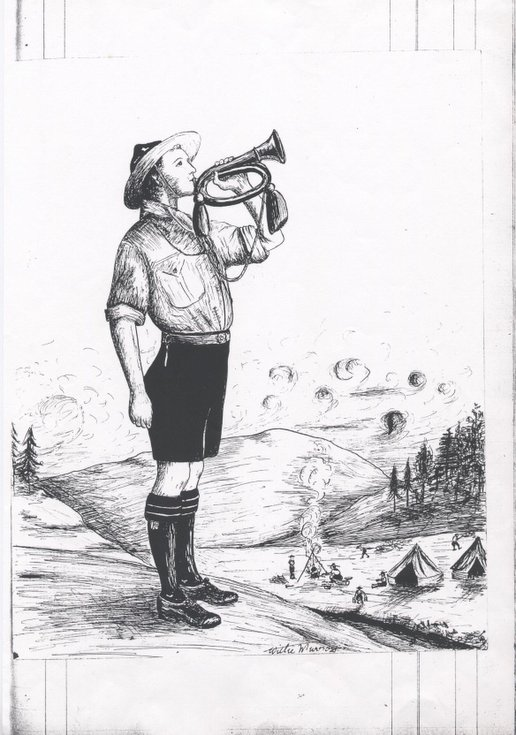 Line drawing of Boy Scout playing the bugle