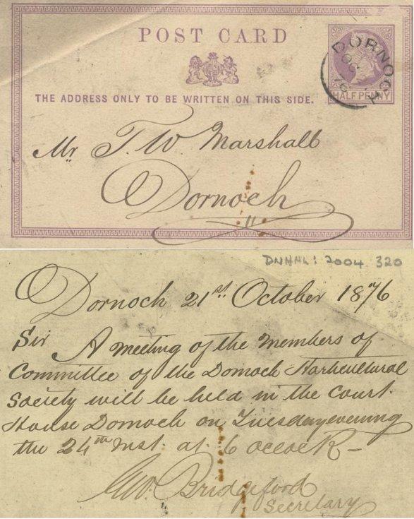 1876 postcard addressed to T W Marshall Dornoch
