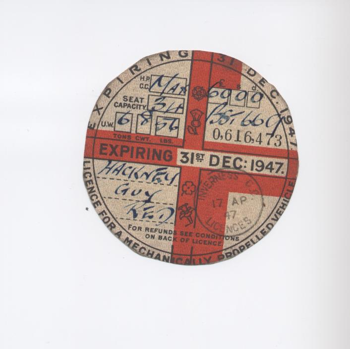 Bus road tax disc 1947