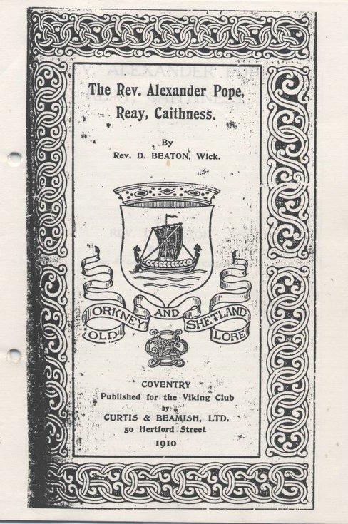 Rev Alexander Pope, Reay, Caithness