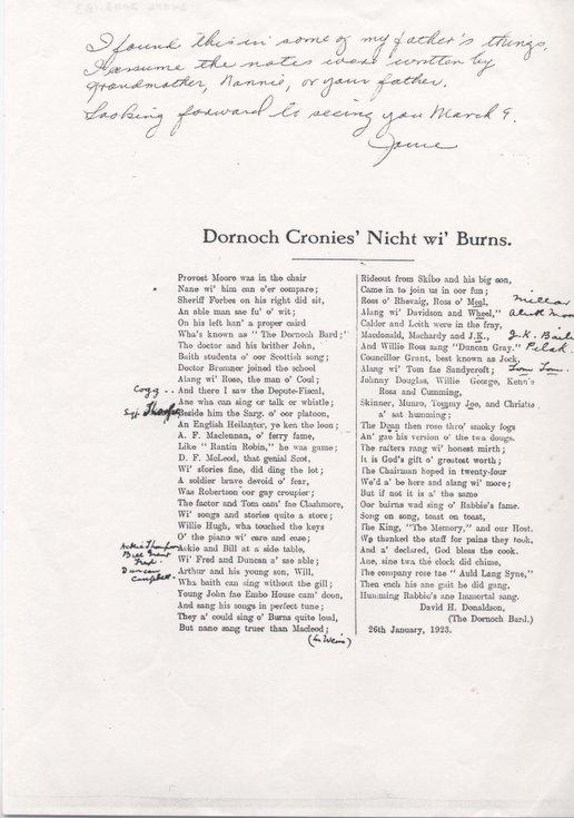 Poem - Dornoch Cronies Nicht wi' Burns