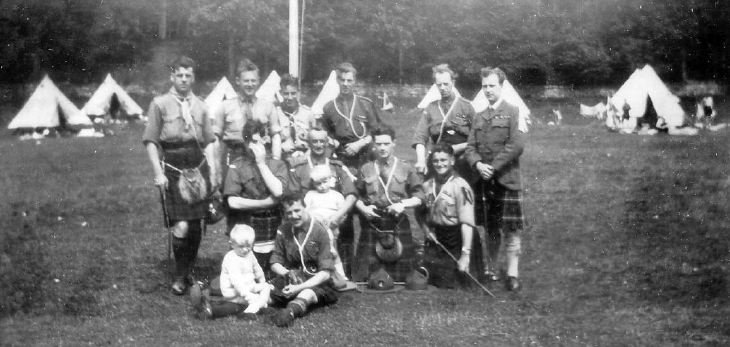 Scout group photograph taken at camp