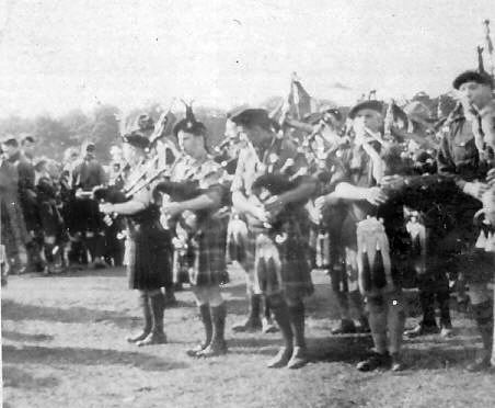 Scout pipers probably at World Jamboree