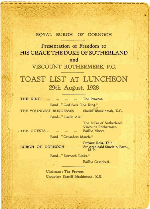 Toast list for presentation of Freedom of Burgh 1928