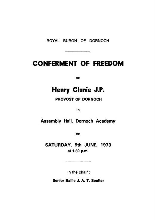 Conferment of Freedom of Burgh Henry Clunie JP  1973