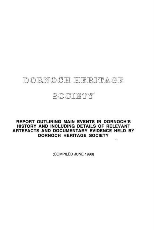 Dornoch heritage Society Report 1998 - Dornoch's History