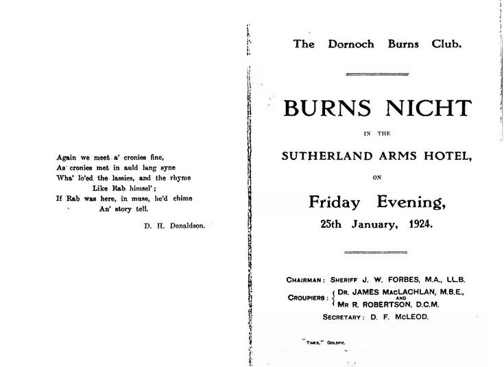 Burns night 1924 report.