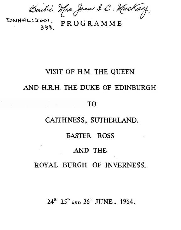 Programme for visit of Queen Elizabeth to Highlands 1964