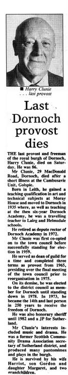 Obituary Henry Clunie last Dornoch Provost