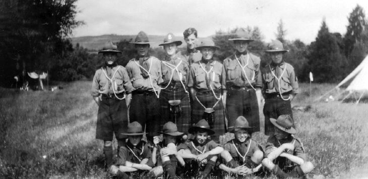 Group of scouts at camp