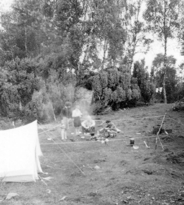 Scouts in roped off camp kitchen area
