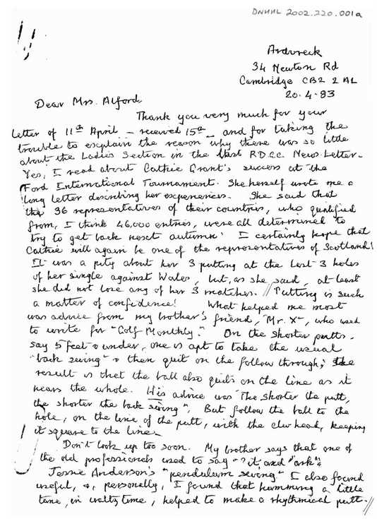 Letter from Miss Macleod, Cambridge to Mrs Alford, Dornoch, 1983