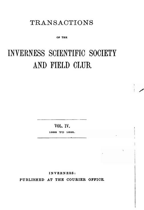 Inverness Scientific Society & Field Club 1894