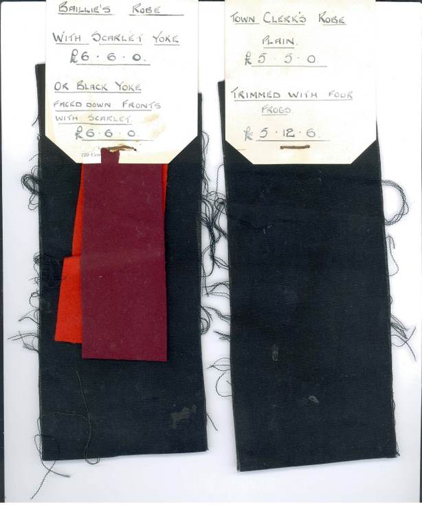 Letter and cloth samples for Burgh officers 1894