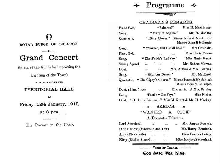 Grand Concert Programme 1912