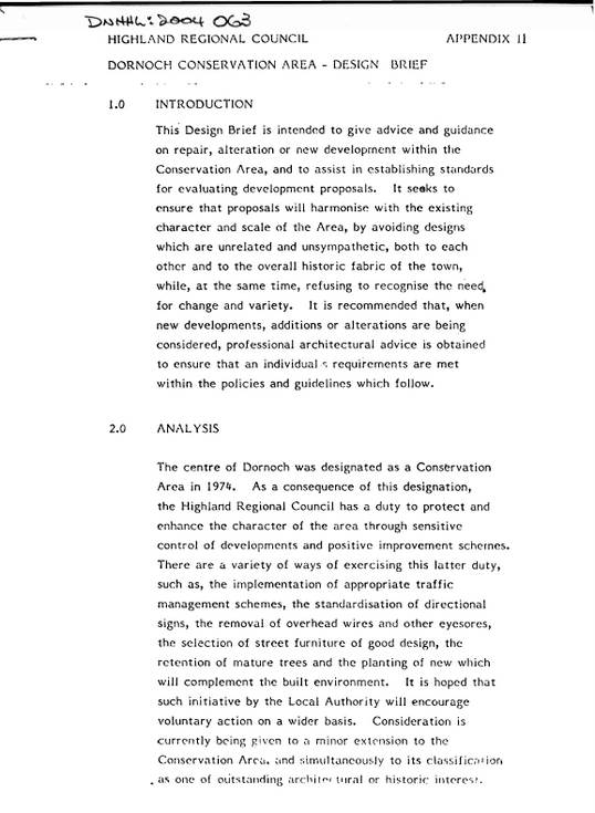 Dornoch Conservation Area design brief