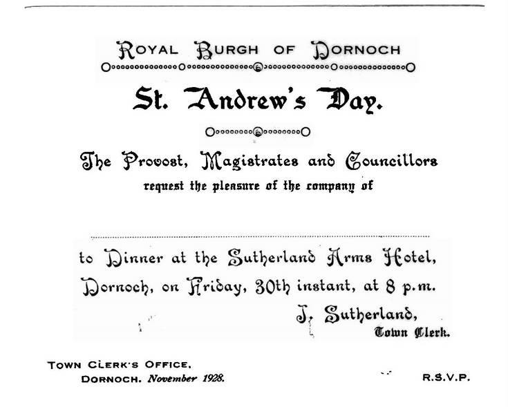 St Andrew's day dinner 1928