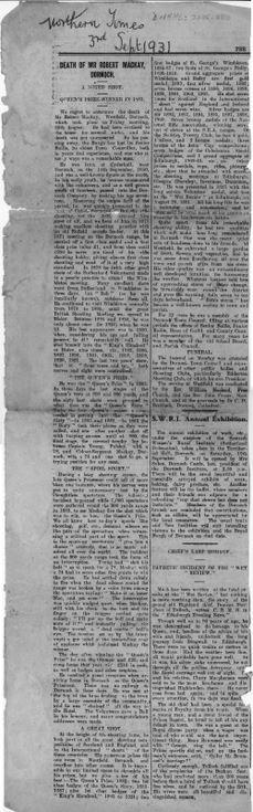 Obituary of Robert Mackay 1931