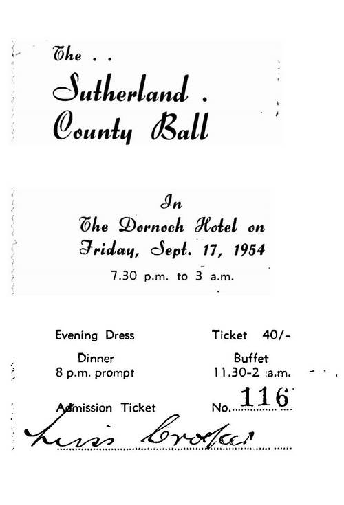 Sutherland County Ball Ticket and Programme 1954