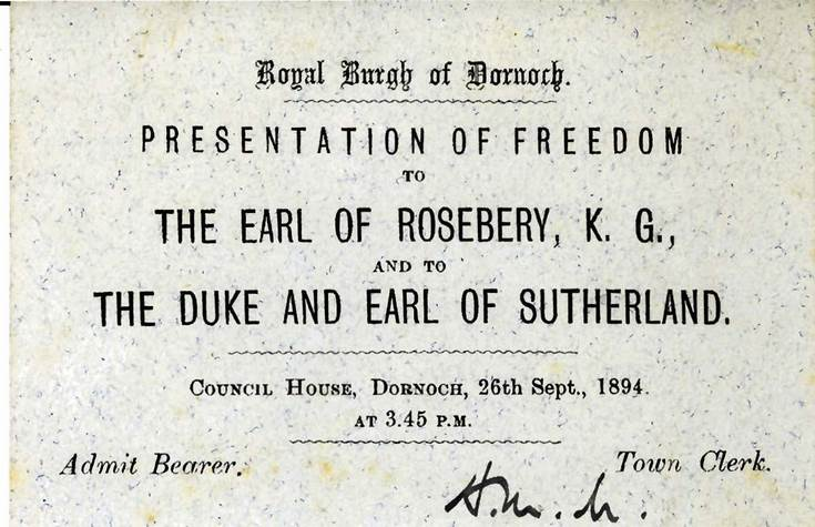 Invitation to presentation of Freedom of Burgh 1894