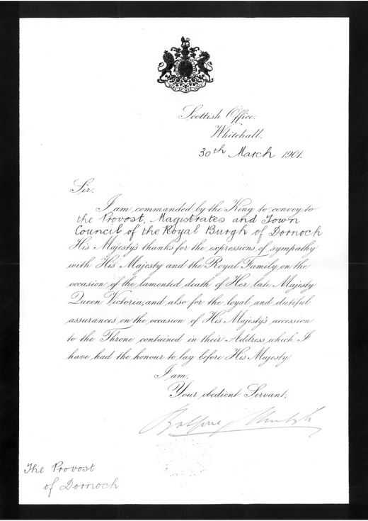 Letter re death of Queen Victoria 1901
