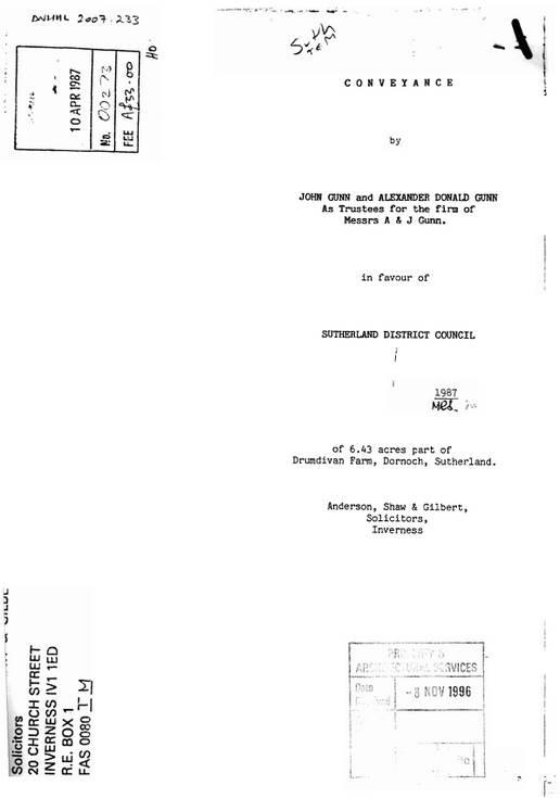 Sale of Drumdivan 1987